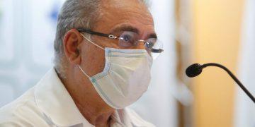 Ministro da Saúde, Marcel Queiroga durante entrevista no ministério da Saúde sobre a compra de remédios para intubação e chegada de novas vacinas e insumos (IFA). Sérgio Lima/Poder360 21.04.2021