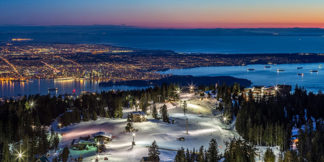 Panoramic View of Vancouver city, british columbia, Canada, from the summit of Grouse Mountain ski resort at Dusk; Shutterstock ID 182225615