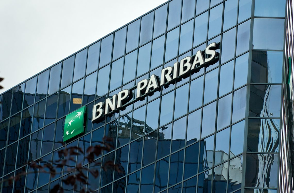 MONTREAL, CANADA - OCTOBER 4, 2018: BNP Paribas building and logo in Montreal. BNP Paribas is a French international banking group.